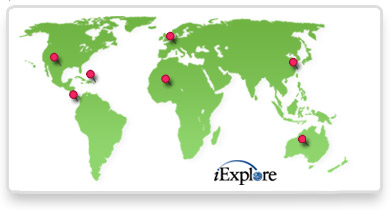 iExplore Trip Finder World Map